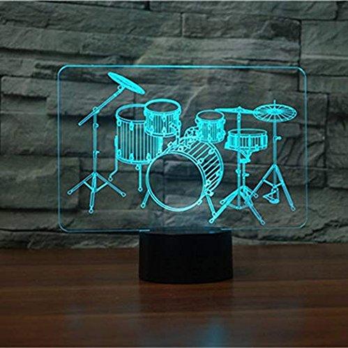 3D Schlagzeug Illusions LED Lampen Tolle 7 Farbwechsel Acryl berühren Tabelle Schreibtisch-Nachtlicht mit USB-Kabel für Kinder Schlafzimmer Geburtstagsgeschenke Geschenk