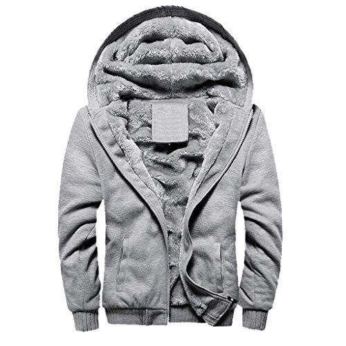 Herren Hoodie, Winter Warm Zip Sweater Jacke und Hose Set, Bluestercool Solid Color Plus Velvet Velvet Pants