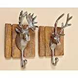 Set of 2 Large Wall Mounted Stag Design Metal / Wood Silver Coloured Stag Head Trophy WALLPICTURE Brown Decorative Skihütte Apreski Wall Hooks Coat Hooks
