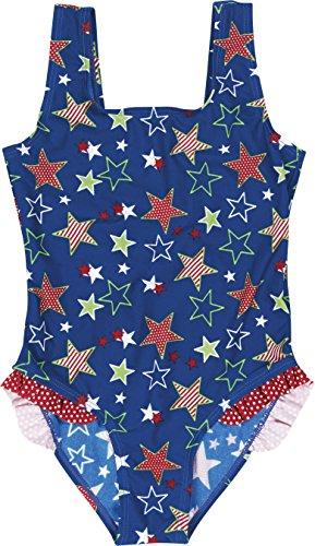 Playshoes Mädchen Einteiler Badeanzug Sterne, UV-Schutz nach Standard 801 und Oeko-Tex Standard 100, Gr. 98 (Herstellergröße: 98/104), Blau (original 900)