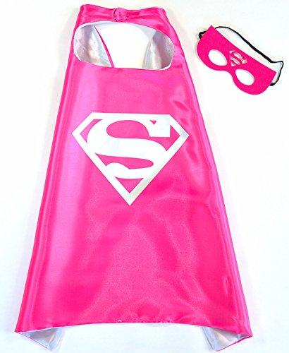 Kostüm Mädchen Supergirl (Supergirl Pink Superwoman Cape und Maske - Superhelden-Kostüme für Kinder - Kostüm für Kinder von 3 bis 10 Jahre - für Superheld Mottopartys! Spielsachen für Mädchen - King Mungo -)