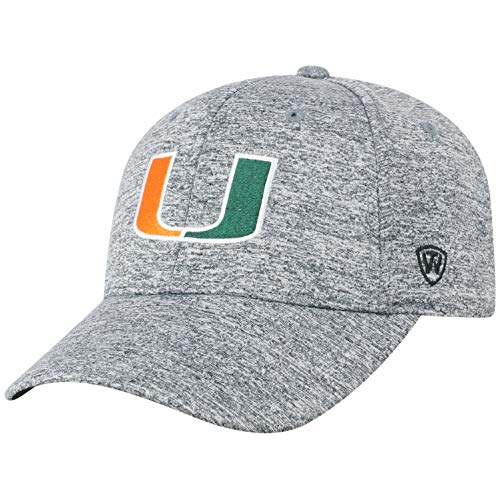 Top of the World NCAA Miami Hurricanes Men's Adjustable Steam Charcoal Icon Hat, Grey (Hat Hurricanes Miami)