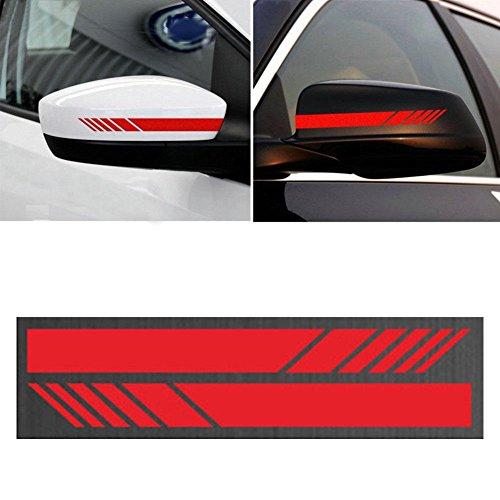 Calistouk - 2 pegatinas decorativas para espejo retrovisor de coche, pegatinas de vinilo con diseño de rayas