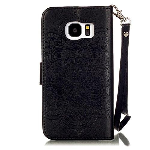 Etui Samsung S6 Edge , Anfire Attrape Reve et Henna Mandala Sun Lace Tribal Vintage Motif Peint Mode PU Cuir Étui Coque pour Samsung Galaxy S6 Edge SM - G925F (5.1 pouces) Housse de Protection Luxe St Noire