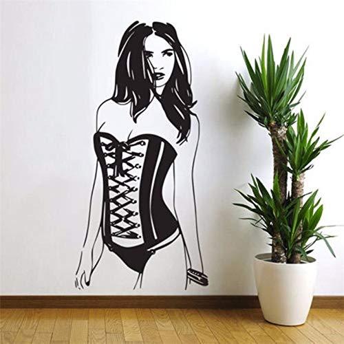 Wohnzimmer wandaufkleber schnitzen frau nadel mädchen wandtattoo künstler dekoration aufkleber 41x87cm schwarz -
