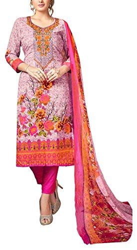 Sancom Women's Rayon Unstitched Dress Material (Pink)