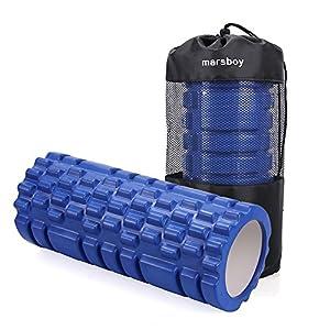 Grid Foam Roller Marsboy Rouleau de Mousse 14 x 32 cm Auto Massage Soulage Douleurs ou Raideurs Musculaires - Couleur Bleu