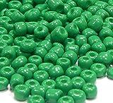 Perles de rocaille de 4 mm - Perles de Verre Rondes - Perles Textiles - Mini Perles n°6 - Opaque Vert - A142-100 g