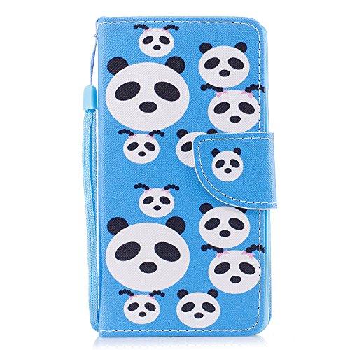Huawei P10 lite Hülle, BONROY Handy Tasche Schutz Hülle im Bookstyle für Huawei P10 lite Malerei Muster PU Leder Wallet Case Flip Cover Magnetisch Schutzhülle mit Standfunktion Kartenfächer mit Weich TPU Innere Hülle Case (Blau,Panda-Rätsel)