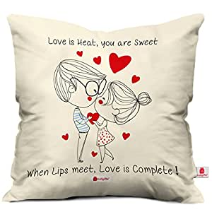 indibni Couple Cushion Cover 12x12 with Filler - White Unique Attractive Love Best Gift for Boy Girl Couple Husband Wife Him Her