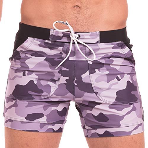 Taddlee Herren Bademode Badeanzüge Schwimmhose Boxer Bikini Surfen Board Trunk Camo Shorts - Violett - M Passen Taille 79/84 cm - Tragen Sie Camo Shorts