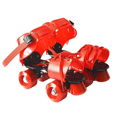 SWAMPLAND Größenverstellbar Rollschuhe mit 4 Rollen zum Trainieren 19 – 25 cm,Unisex,Rot