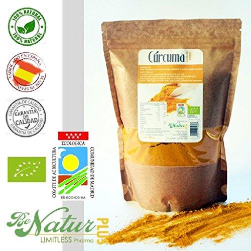 Cúrcuma Cruda en polvo BeNatur Plus - 100% Cúrcuma Longa en polvo de Pureza Garantizada Libre de Pesticidas y de cualquier tipo de productos Químicos 500 g