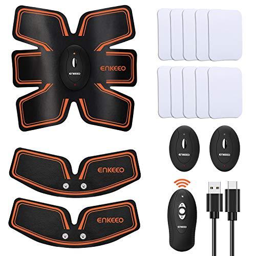 ENKEEO Elettrostimolatore Muscolare, 3 in 1 EMS Addominali Trainer Telecomando Wireless, USB Ricaricabile, 10 Gel in Omaggio, 6 Modalità e 10 livelli di Intensità, Unisex
