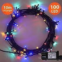 Guirlande Lumineuse 100 LED Multicolore Lumières de Noël extérieure et intérieure avec 8 fonctions de mode Alimentation Secteur avec Longueur éclairée 10m Câble Vert- 2 ans de Garantie
