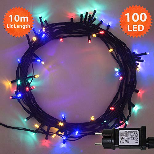Luces hadas Navidad 100 LED Multicolor luces árbol