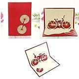 Kofun Vatertag Geschenke, Grußkarte mit Umschlag, alles Gute zum Geburtstag Valentinstag Ostern Jahrestag Geschenkkarte Fahrrad Reise 3D Pop Up Card