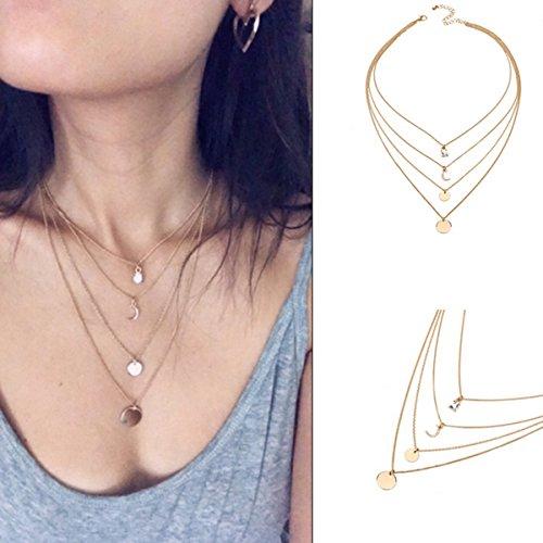 Butterme Multi Layered Layered Boho Halskette Anhänger Kristall Mond Münze Kette Choker Halskette Mädchen Frauen Schmuck-Set (Münze Verziert)