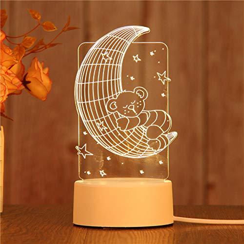 Lampe 3D Illusion optique Lampe Illusion de table Lampe de table alimentée par USB Matériau acrylique Panneau ABS Base pour décoration de table et décoration de nuit, Moon Bear, Couleur chaude USB