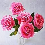 Kuulee 10 Kopf Kunstblumen Kunstrose lebensechte künstliche Rose Real Touch Latex Rose Blumen für Hochzeit Dekoration