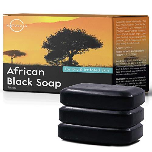 Sapone nero africano o naturals.100% naturale. pulisce viso, mani e corpo. aiuta i problemi della pelle, le pelli secche e l'acne cistica. con burro di karité. pulizia profonda, vegano, 3pezzi 115g