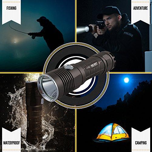HIILIGHT LED Taschenlampe 3000 Pro - Taktische Outdoor XM-L2 Flashlight Mit Akku Set - 3