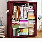Armarios sencilla de tela doble armario armario reforzado polvo armario dormitorio plegable gabinete de almacenamiento ( Color : 3 )