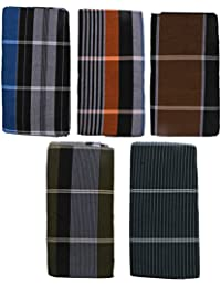 HTC Saree Men's Cotton Lungi Blue and Green_Free Size (Pack of 5)