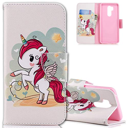 Preisvergleich Produktbild HMTECH Huawei Mate 20 Pro Hülle Leder Rot Unicorn Blumen Flip Bookstyle Standfunktion Karten Slot Magneterschluß Tasche Brieftasche Etui für Mate 20 Pro, Red Unicorn