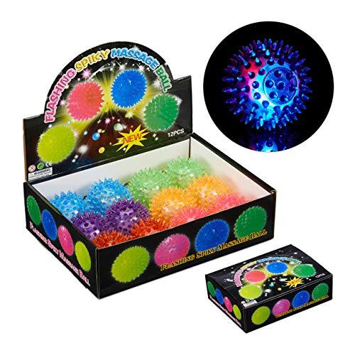 Relaxdays 24 x LED Igelball, mit Noppen, leuchtender Flummi, Noppenball für Massage & Spiel, Massageball