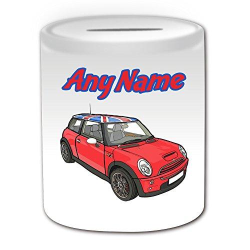 Personalisiertes Geschenk–Rot Mini Cooper Union Jack Dach Aufkleber Spardose (Design Thema, weiß)–Für jede Nachricht/Name auf Ihrem Einzigartig–BMW Hatch Cabrio Clubman Countryman Coupe Roadster Paceman Fahrzeug Auto Automarke Cute Treiber (Penny-treiber)