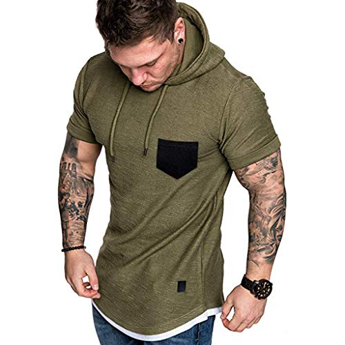 Makefortune  2019 Men's Slim Fit Short Sleeves T-Shirt Hoodie Muscle Casual Tops Solid Colour Stylish Blouse for Spring Summer -