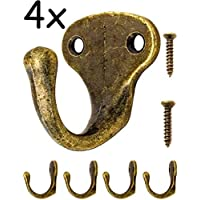 Fuxxer® Antique Hook | Coat Hooks, Towel Hook Coat Hooks | Cast Iron Brass Bronze Design | Vintage Cottage Retro | Set of 4