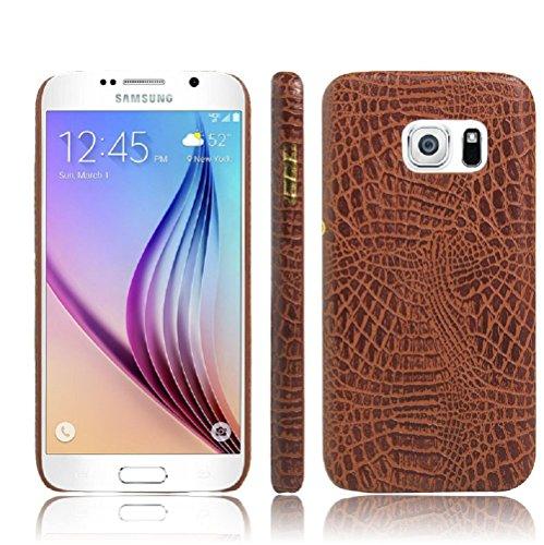 Coque Galaxy S7 Edge , Vanki® Vintage Series Crocodile texture en cuir souple Coque rigide Cover Case pour Samsung Galaxy S7 Edge Brun
