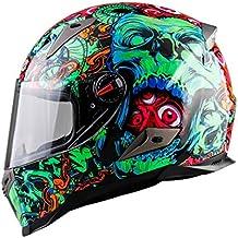 MATEROP Casco de Hombre Cara Completa Moto Montar ABS Material Motocross Casco Green Skeleton XXL