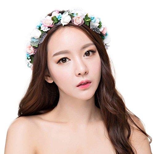 dressfan Blume Garland Stirnband Blume Handgelenk Hochzeit Braut Braut Brautjungfer Mädchen Headwear einstellbar - Für Blumen Stirnbänder