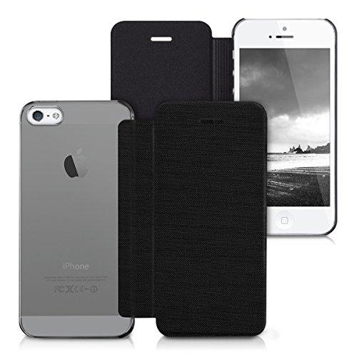kwmobile Housse flip case pour Apple iPhone SE / 5 / 5S - Étui de protection rabattable style flip cover en noir gris transparent .noir gris