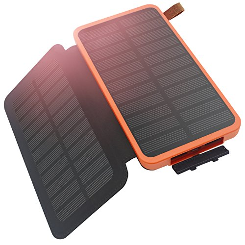 Solar Charger, Hiluckey Power Bank 8600mAh with Foldable 2 Solar Panels Solar Portable Battery Pack Waterproof Shockproof Phone Charger Dual USB Ports for iPhone, Samsung, ipad and more Outdoors