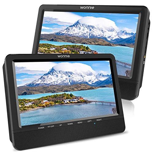 """WONNIE 10,5"""" Tragbare Auto 2 Monitore DVD Player 4 Stunden Kopfstütze Monitor Fernseher 1024 * 600 Bildschirme, Unterstützung USB/SD/AV IN&Out (1Host +1 Slave)"""