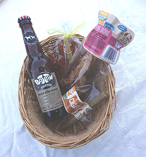 Paradise Pets DOG CHRISTMAS BIRTHDAY HAMPER WITH DOG BEER, ROASTED PORK BONE, RAWHIDE CIGAR AND CRUNCHY GINGER BREAD MAN CHEW