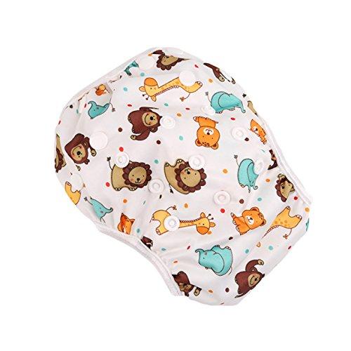 Lalang Baby Kind Mädchen Junge Schwimmwindel Waschbar Mehrwegwindeln Baby Diapers Wasserdicht Windelhosen Einheitsgröße Einstellbar Leakproof Wassersport Badehose (Löwe)