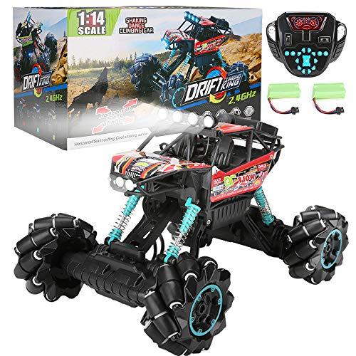 Ferngesteuertes Auto Offroad RC Buggy Kinderspielzeug 4WD 1:14 Drift-Klettern 360 Grad Spin 2,4GHz Hochgeschwindigkeit Tanzmusik Demonstration mit bunten LED-Lichtern für Kinder und Erwachsene (Rot)