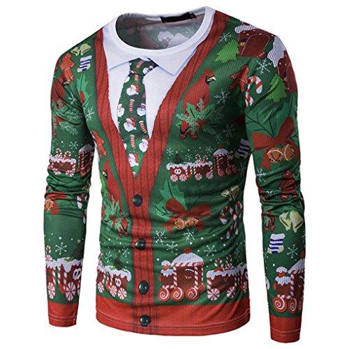 Weihnachten Xmas Drucken Herren Bluse Hemd Pulli Pullover Hemden Langarmshirts Rundkragen Herbst Winter Shirt Männer Sweatshirt Blusen Tops T-shirt Blusentop Elecenty (Grün, M)