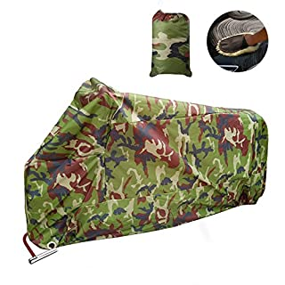 Allcaca Waterproof Motorbike Cover, Large Motorcycle Cover, Dust-proof, UV Protective, Outdoor Protection Cover with Washing Glove, Camo, XXL 256cm