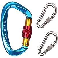 GYDING D-förmigen Aluminium Locking Kletterhaken, 25KN Klettern Karabiner Schraube auf Verriegelung Karabiner Outdoor Sport Tools für Klettern, Wandern und Abseilen