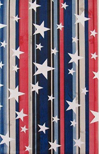 Sterne auf Rot, Weiß, Blau und Schwarz Holzmaserung Streifen Vinyl Tischdecke Flanell Rückseite 52