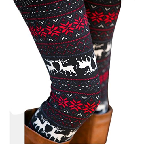 polainas de las mujeres pantalones , RETUROM Mujer multicolor polainas flaco flor elástico ciervo impreso lápiz pantalones apretados