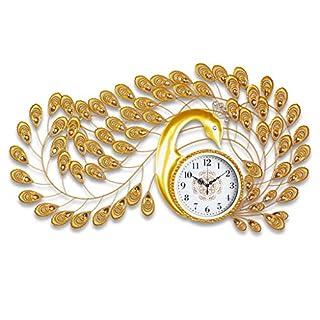 DFHHG ® Pfau Uhr, Wohnzimmer Kreative Europäischen Stil Nostalgische Retro Persönlichkeit Cut Uhr Kunst Wand Tisch 55x105cm Mode stumm ( Farbe : #2 )