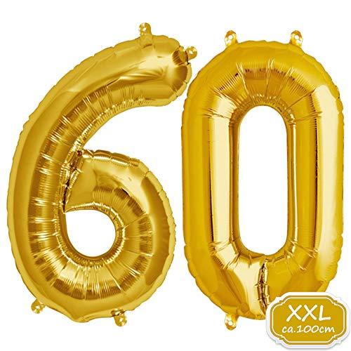 DeaGo XXL Folienballon Zahl [ca.100cm], Gold Luftballon Zahlen für Geburtstag Jubiläum & Party Geschenk partydeko Folienballon Zahlen Luftballons Happy Birthday (Gold [60])