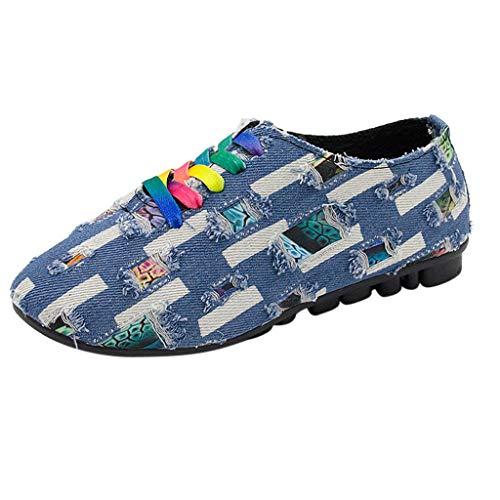 LHWY Sandalen Damen Sommer Freizeit Damen Low-Heeled Runde Zehe Denim Tuch Rutschfeste Schnürschuhe Pumps Schuhe Mode